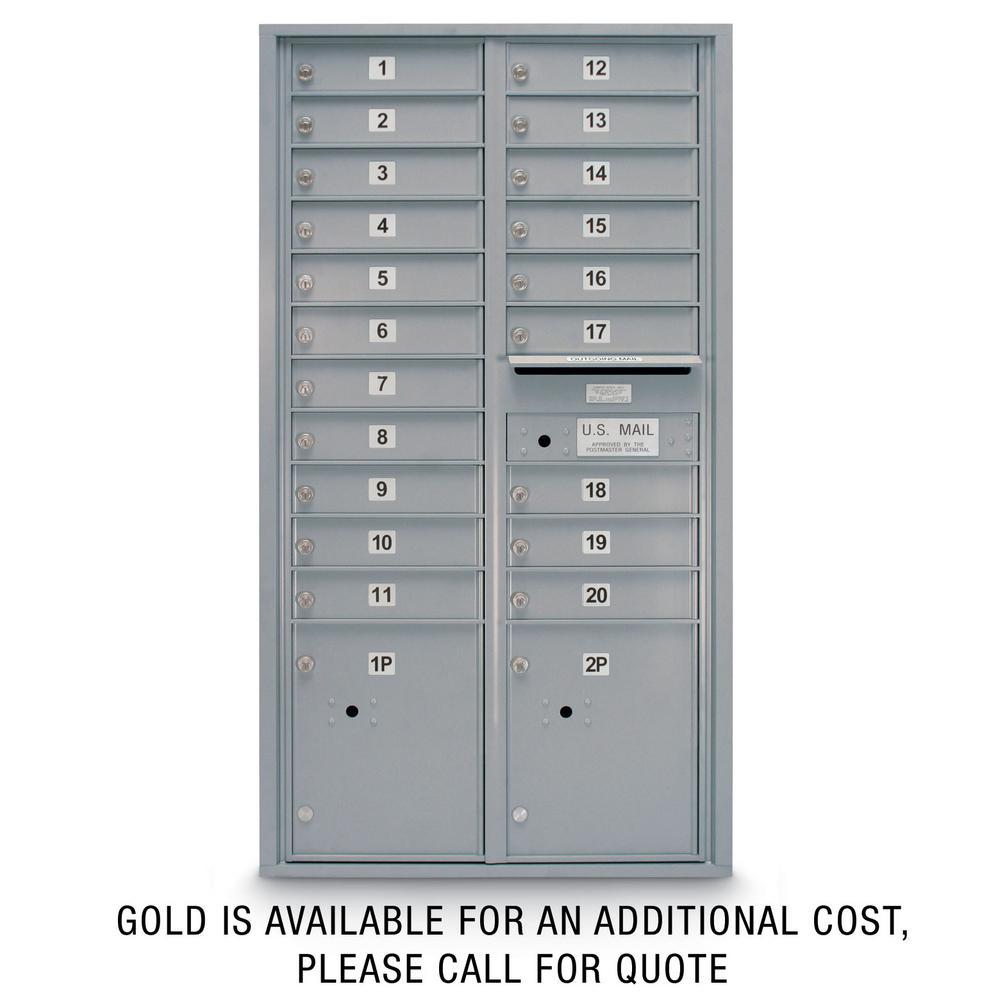 20-Door Standard 4C Mailbox with (2) Parcel Lockers (Silver)