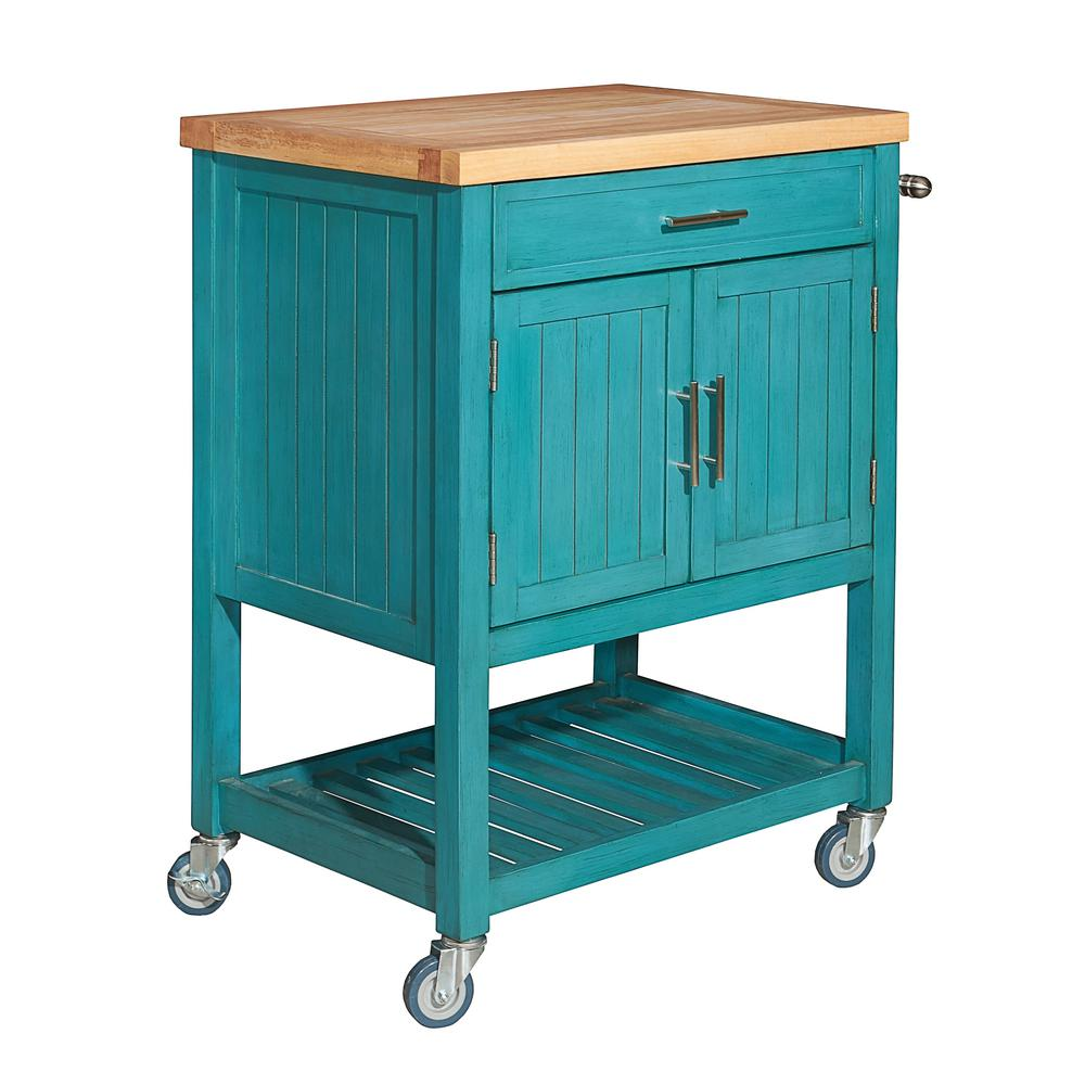 Powell Conrad Teal Kitchen Cart-D1008A15T - The Home Depot