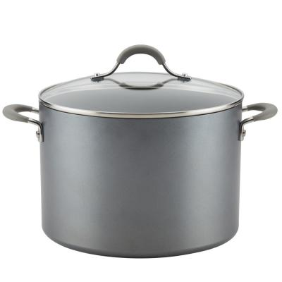 Elementum 10 qt. Hard-Anodized Aluminum Nonstick Stock Pot in Oyster Gray with Glass Lid