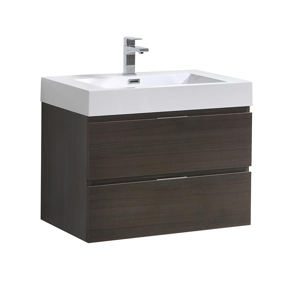 Fresca Valencia 30 in. W Wall Hung Bathroom Vanity in Gray Oak with Acrylic Vanity Top in White