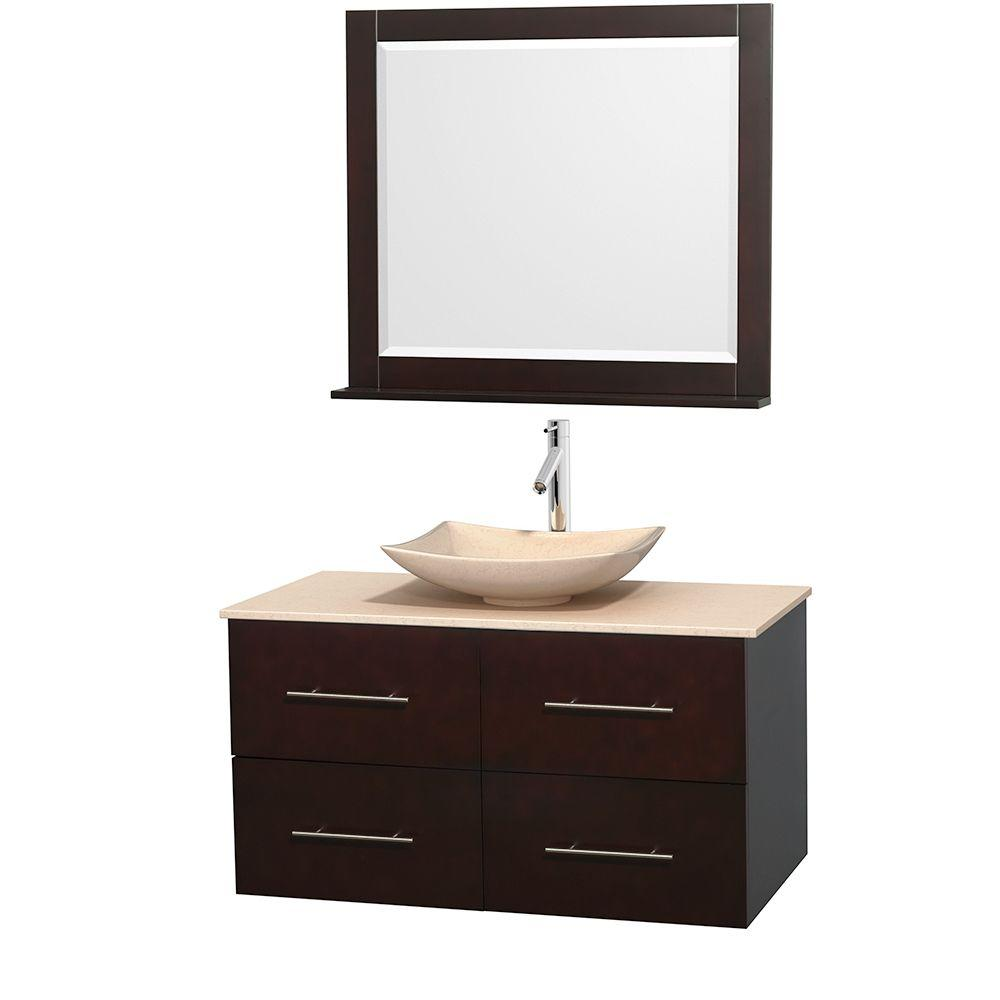 Wyndham Collection Centra 42 in. Vanity in Espresso with Marble Vanity Top in Ivory, Marble Sink and 36 in. Mirror