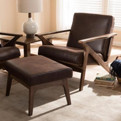 "Bianca Dark Brown and ""Walnut"" Brown Lounge Chair and Ottoman Set"