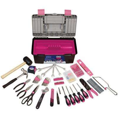 170-Piece Household Tool Kit with Tool Box in Pink