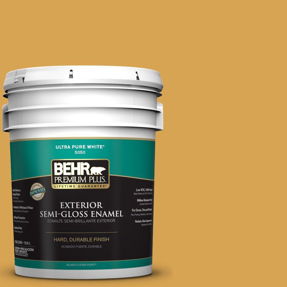 BEHR Premium Plus 5-gal. #M290-6 Plantain Chips Semi-Gloss Enamel Exterior Paint