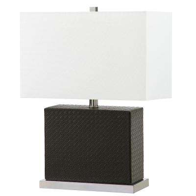 Grey Faux Woven Leather Table Lamp