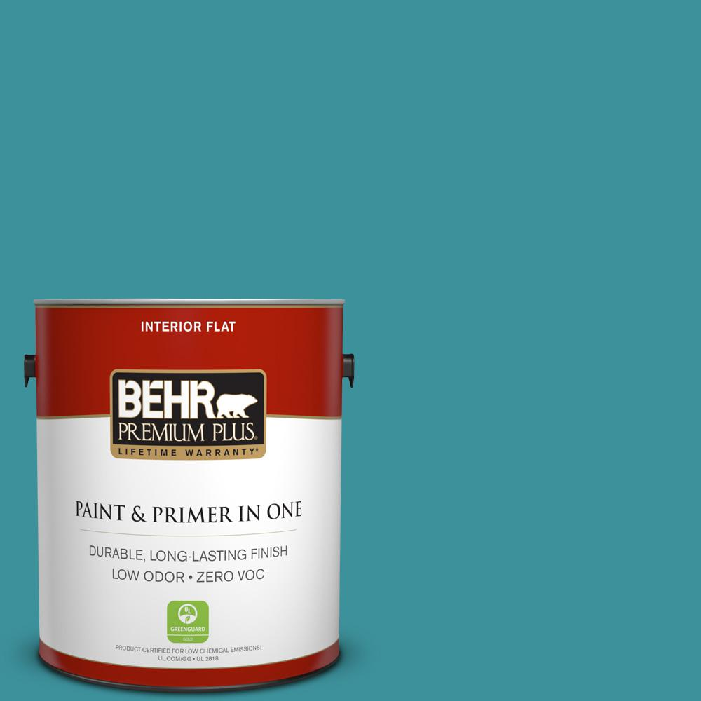 BEHR Premium Plus 1 gal. #520D-6 Lagoon Flat Zero VOC Interior Paint and Primer in One