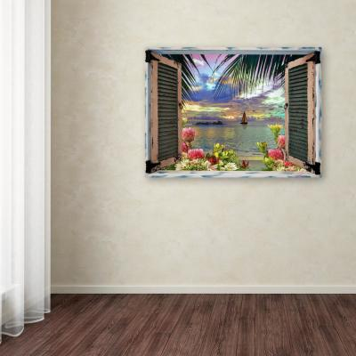 """35 in. x 47 in. """"Tropical Window to Paradise III"""" by Leo Kelly Printed Canvas Wall Art"""