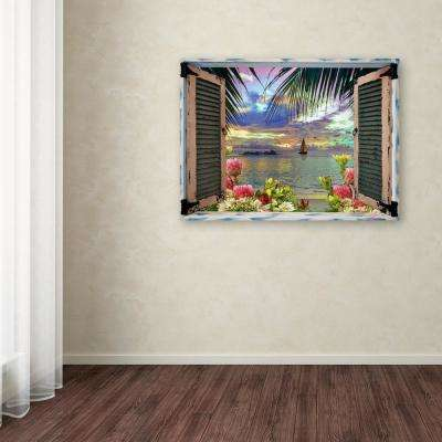 "35 in. x 47 in. ""Tropical Window to Paradise III"" by Leo Kelly Printed Canvas Wall Art"