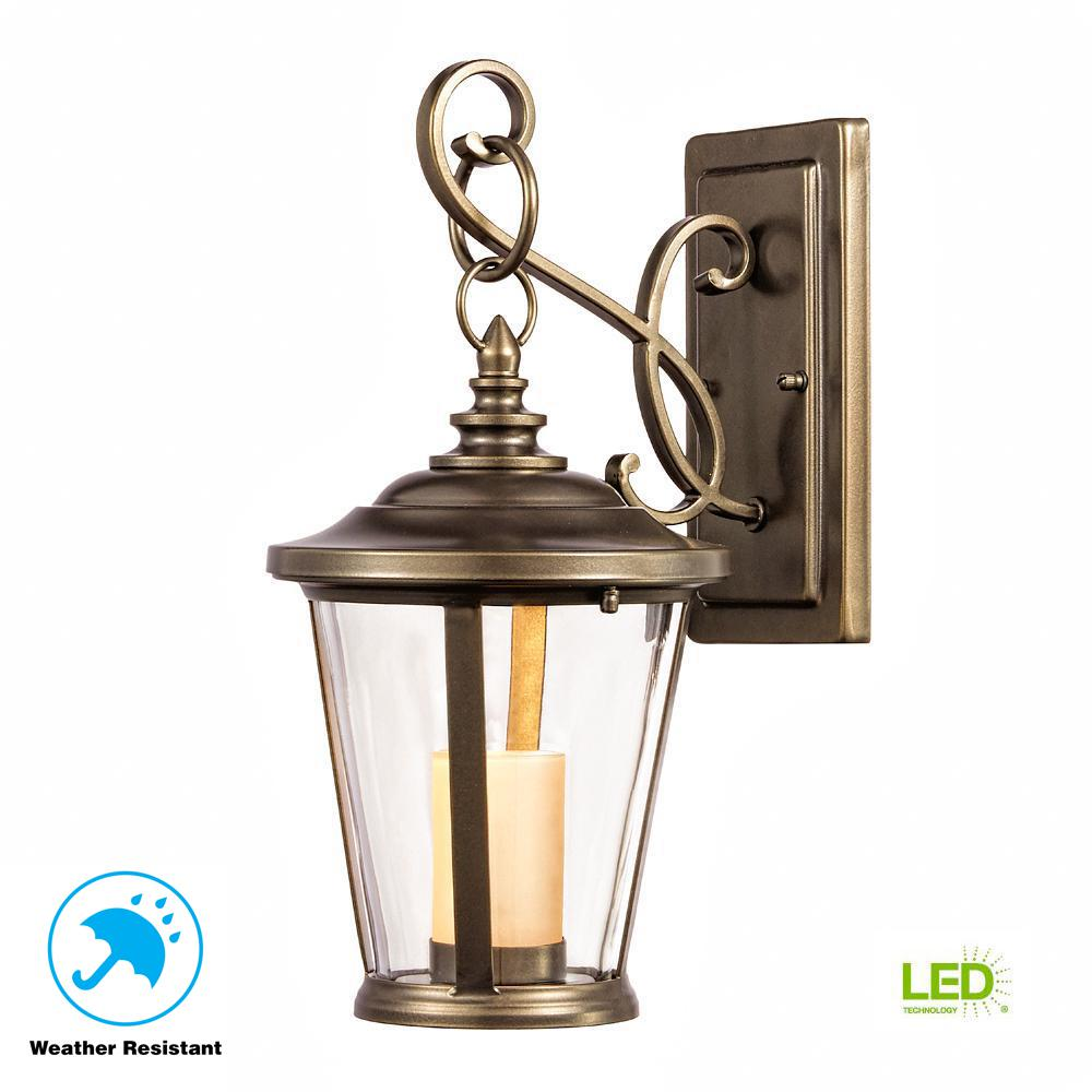Elegant Home Decorators Collection. Bellingham Oil Rubbed Bronze LED Small Outdoor  Wall Mount With Clear Glass And Amber Glass Candle