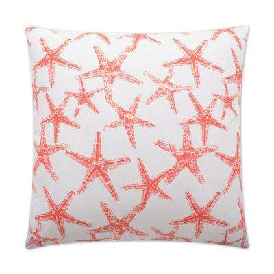 Seafriends Salmon Feather Down 24 in. x 24 in. Standard Decorative Throw Pillow