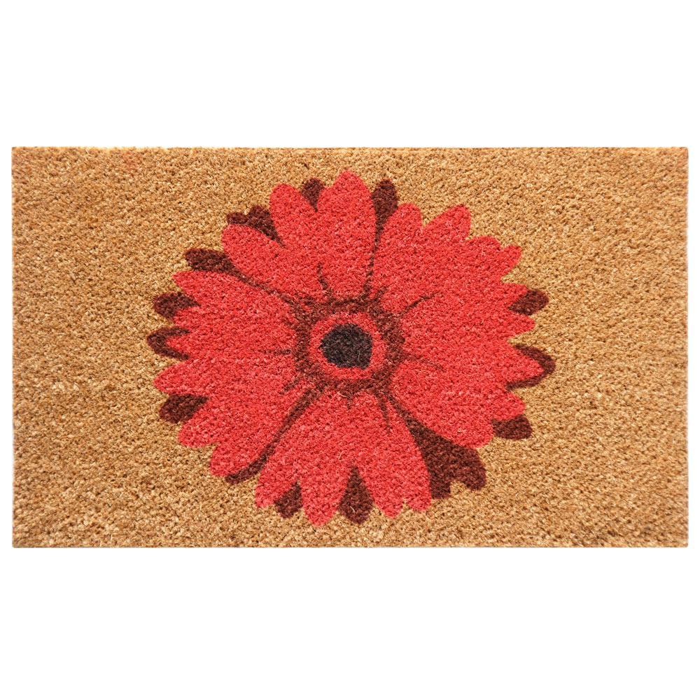 Rubber-Cal Red Daisy 18 in. x 30 in. Flower Door Mat, Bro...
