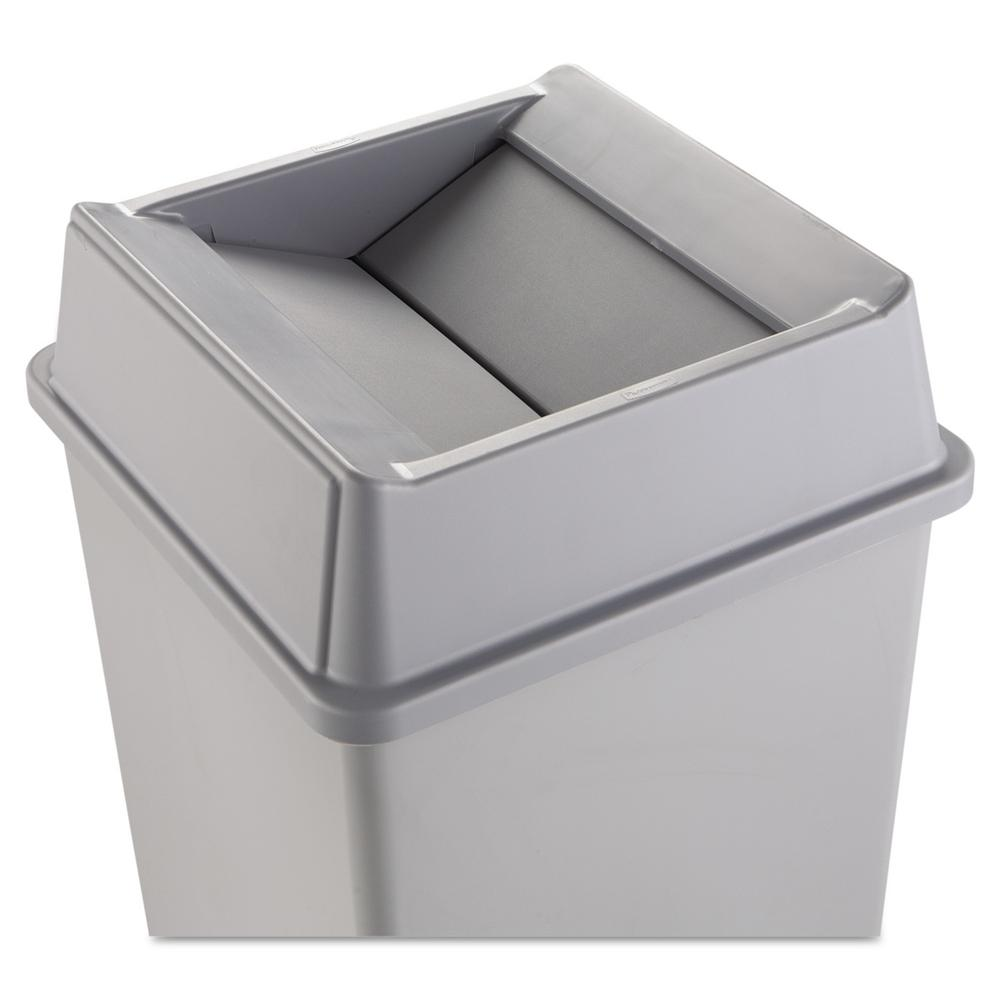 rubbermaid commercial products untouchable 35 and 50 gal grey square trash can swing top lid. Black Bedroom Furniture Sets. Home Design Ideas