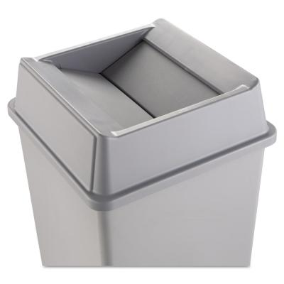 Untouchable 35 and 50 Gal. Grey Square Trash Can Swing Top Lid