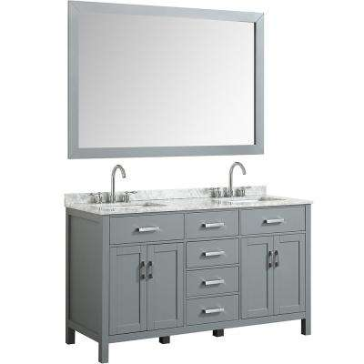 Hampton 61 in. Bath Vanity in Gray with Marble Vanity Top in Carrara White with White Basin and Mirror