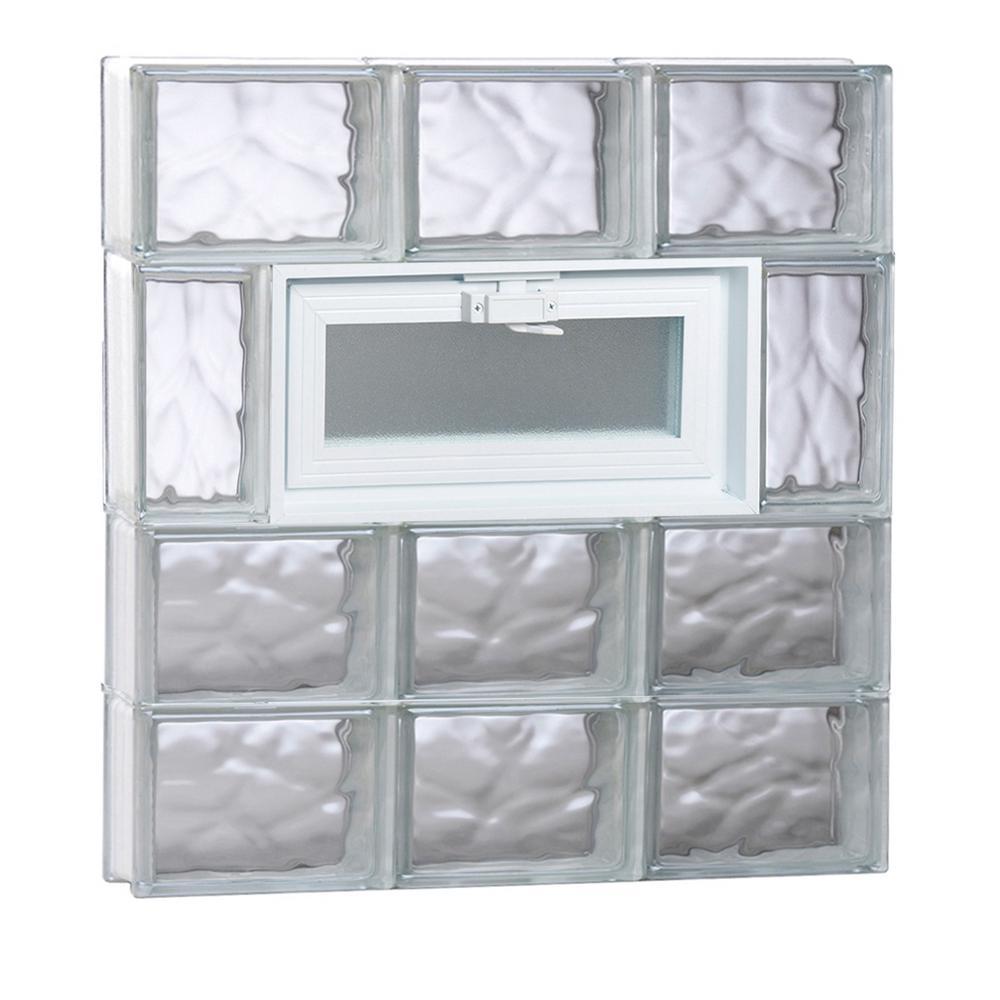 23.25 in. x 15.5 in. x 3.125 in. Wave Pattern Vented Glass Block Window
