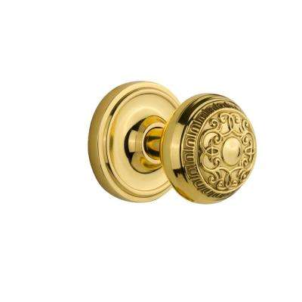 Classic Rosette 2-3/8 in. Backset Polished Brass Passage Hall/Closet Egg and Dart Door Knob