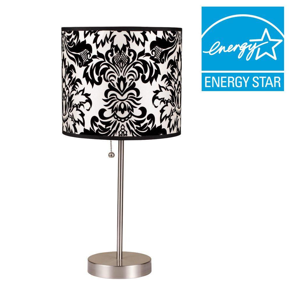 19 in. H Black/White Print Steel Table Lamp