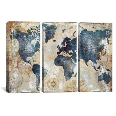 World Map Indigo by Xander Blue Canvas Wall Art
