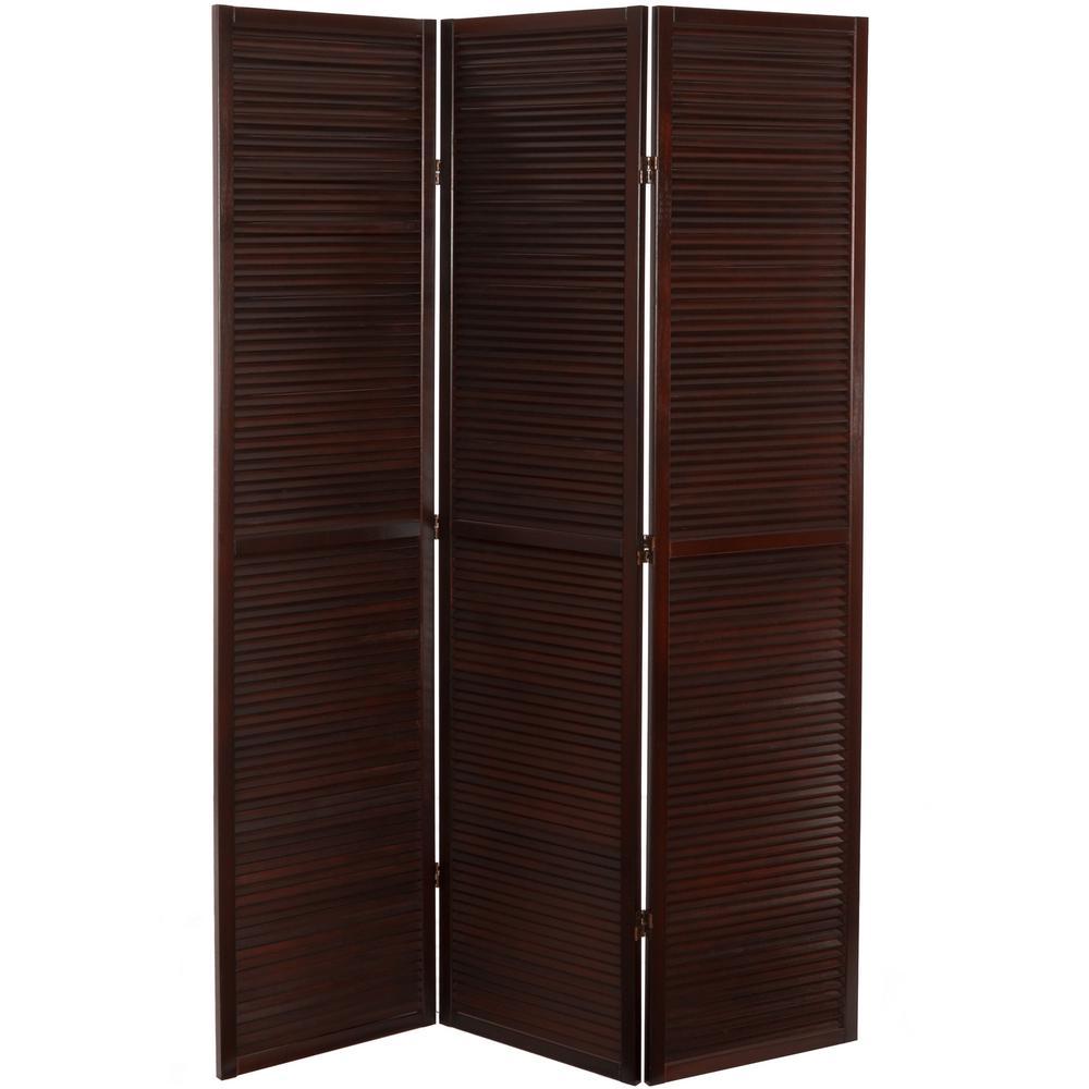 6 ft. Brown 3-Panel Venetian Room Divider