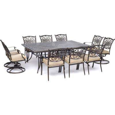 Traditions 11-Piece Aluminum Outdoor Dining Set with 4 Swivel Rockers and Tan Cushions