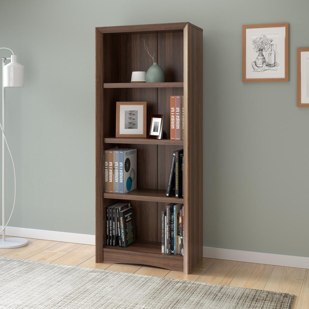 Quadra 59 in. Tall Walnut Faux Woodgrain Bookcase