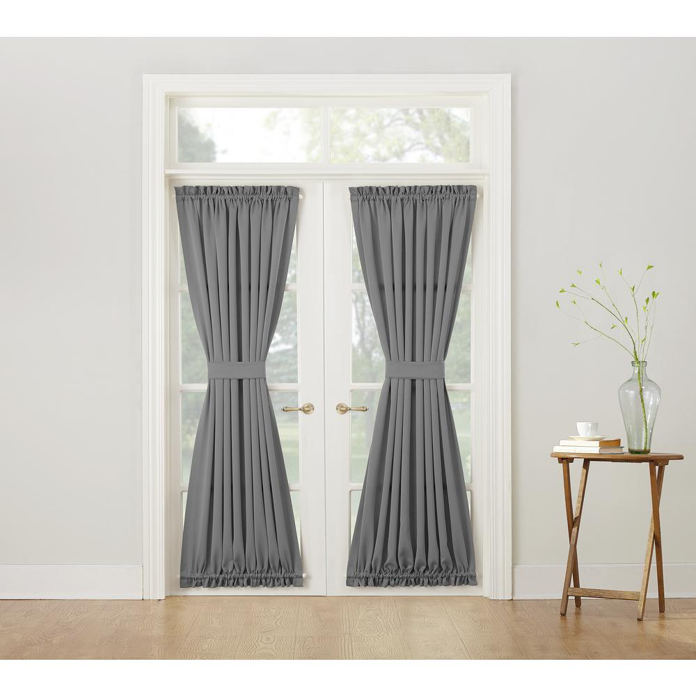 Sun Zero Semi Opaque Gregory Grey Room Darkening Door Panel Curtain 48678 The Home Depot