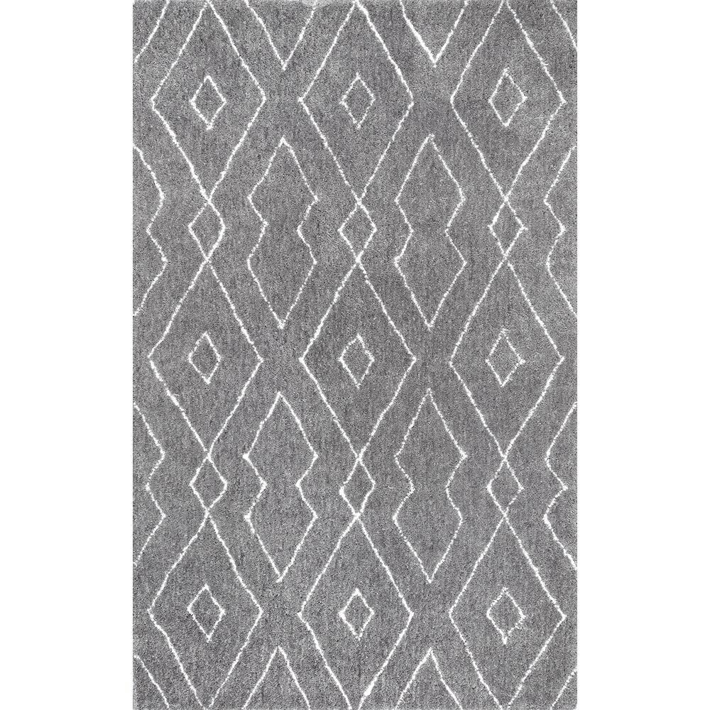 Beaulah Modern Geometric Shag Gray 6 ft. x 9 ft. Area Rug