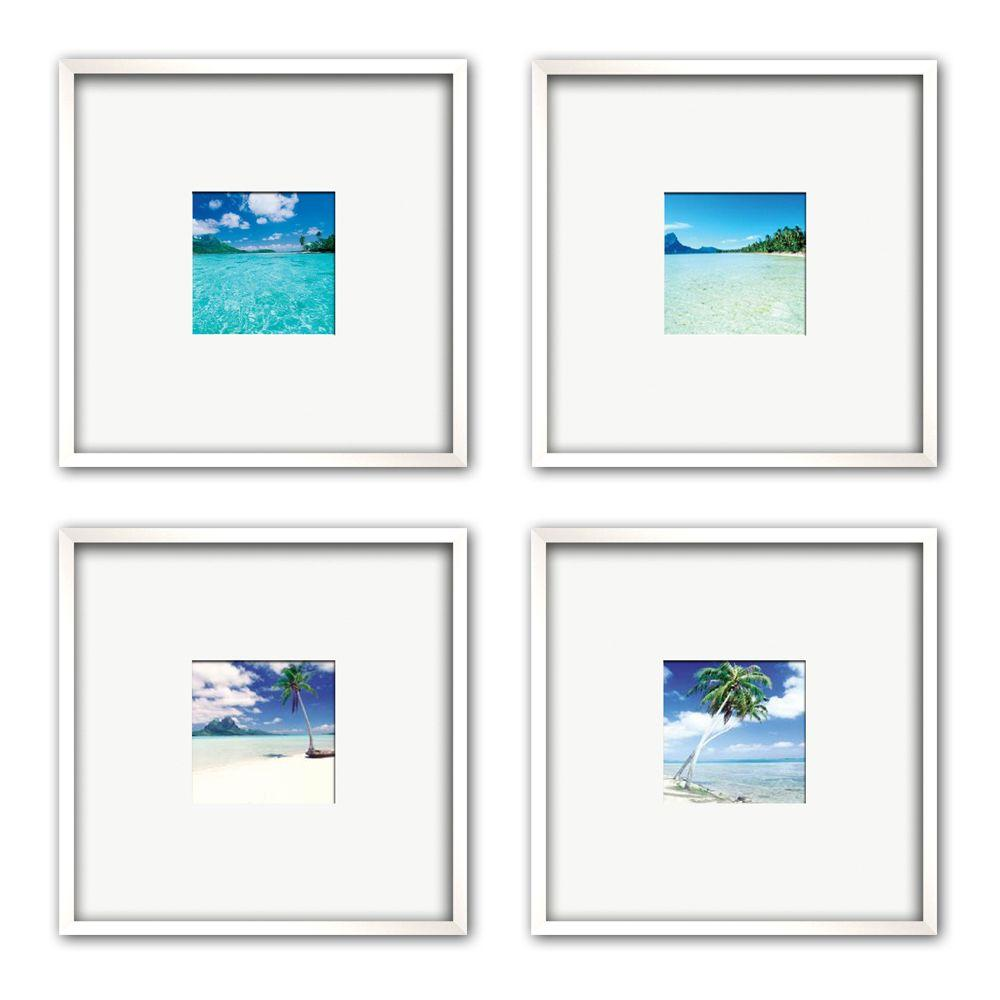 "PTM Images 13 in. x 13 in. ""Blue Frontier"" Matted Framed Wall Art (4-Piece)"