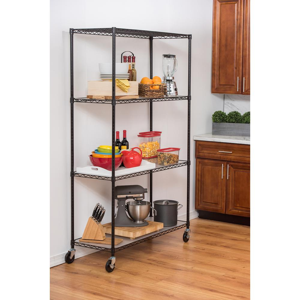 trinity 48 in x 18 in x 72 in 4 tier wire shelving rack in black rh homedepot com wire shelving kitchen cart wire shelves kitchen cabinets