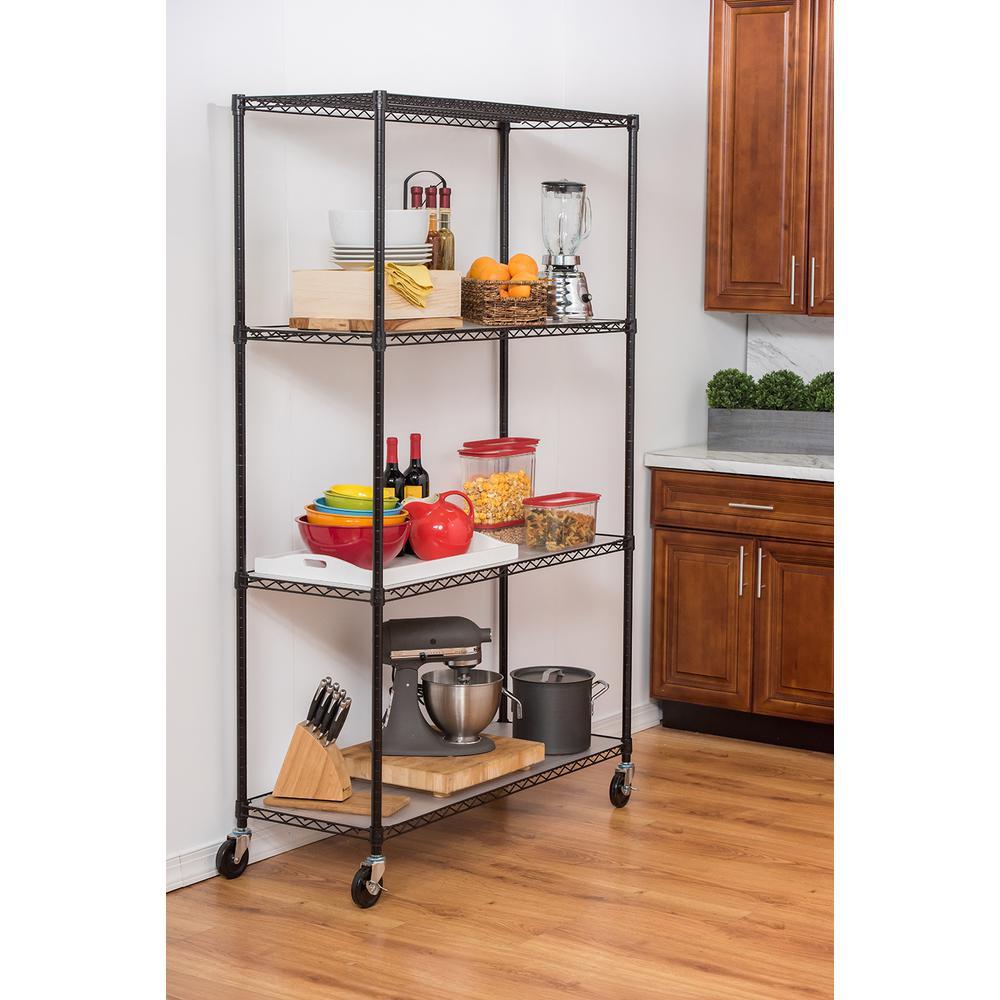 Kitchen Storage Units On Wheels: Trinity 48 In. X 18 In. X 72 In. 4-Tier Wire Shelving Rack