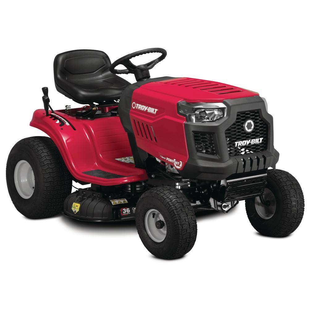 Troy-Bilt Pony 36 in. 382 cc Auto-Choke Engine 7-Speed Gas Manual Drive Mulching Riding Lawn Tractor