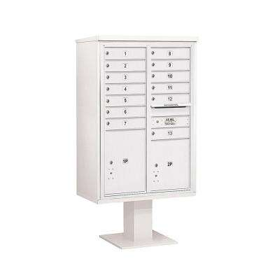 3400 Series 63-1/4 in. 13 Door High Unit White 4C Pedestal Mailbox with 13 MB1 Doors/1 PL5 and 1 PL6