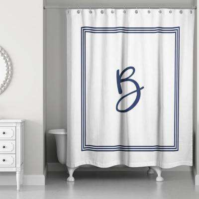 71 in. W x 74 in. L Navy Blue and White Letter B Monogrammed Fabric Shower Curtain