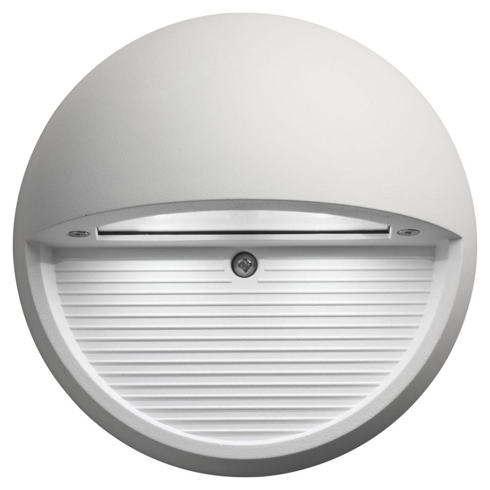 Led Outdoor Wall Lights Home Depot: Lithonia Lighting White Integrated LED Round Step And
