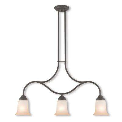Karysa 3-Light Bronze Linear Chandelier with Hand Applied Sunrise Marble Glass Shade