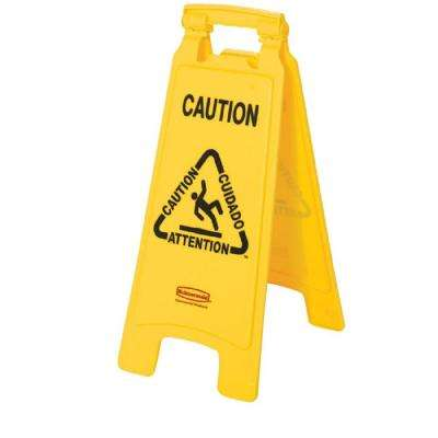 Multi-Lingual Caution 2-Sided Wet Floor Sign
