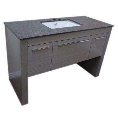 Othello 55.3 in. W x 23.6 in. D Single Vanity in Gray with Marble Vanity Top in Baltic Brown with White Basin