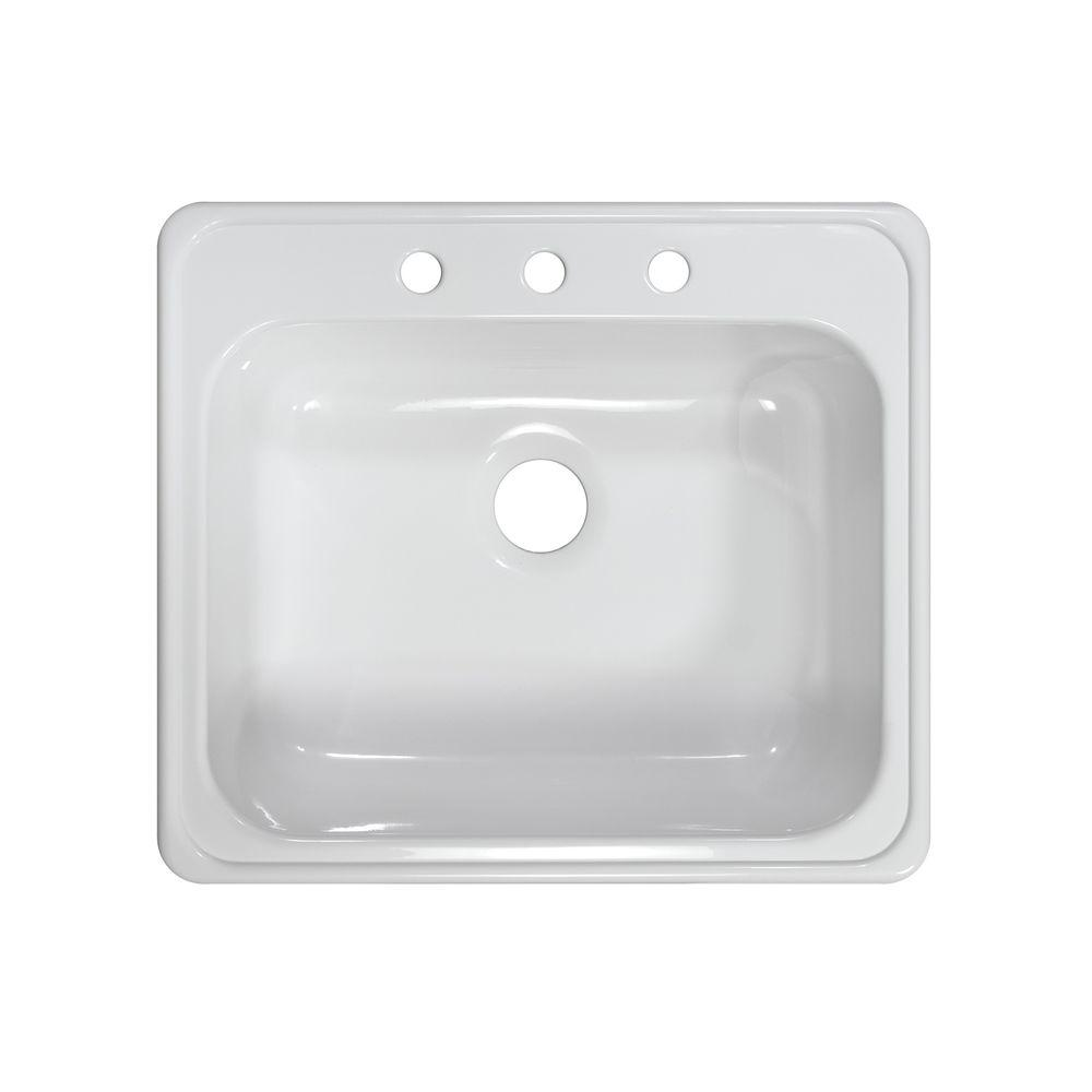 Lyons Industries Style X Drop-In Acrylic 25x22x9 in. 3-Hole Single Basin Kitchen Sink in White
