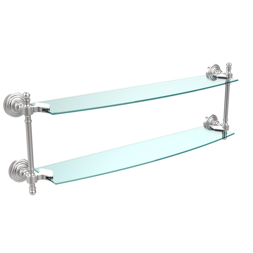 Retro Wave Collection 24 in. Two Tiered Glass Shelf in Satin
