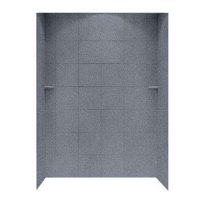 36 in. x 62 in. x 96 in. 3-piece Solid Surface Square Tile Easy Up Adhesive Alcove Shower Surround in Night Sky