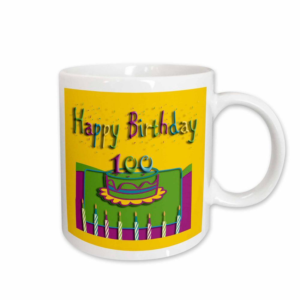 3dRose Beverly Turner Birthday Design 100th Colorful Cake And Candles 11 Oz White Ceramic Coffee Mug 20174 1