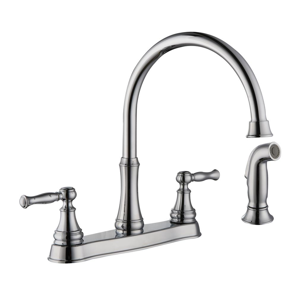 Glacier Bay Fairway 2-Handle Standard Kitchen Faucet with Side Sprayer in Chrome