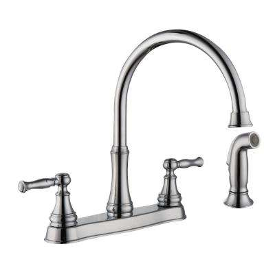 Fairway 2-Handle Standard Kitchen Faucet with Side Sprayer in Chrome