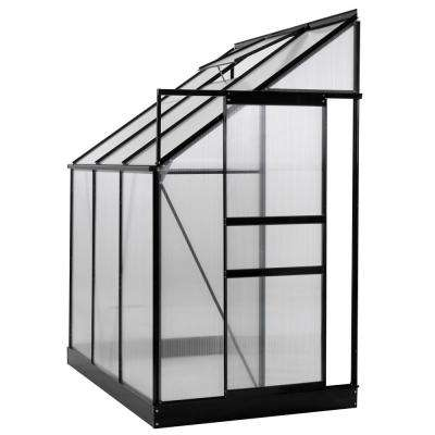 6 ft. x 4 ft. x 7 ft. Aluminium Lean-To Greenhouse - 25 Sq. Ft. - With Sliding Door and Roof Vent