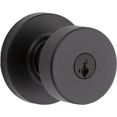 Pismo Round Matte Black Exterior Entry Door Knob Featuring SmartKey Security with Microban Antimicrobial Technology