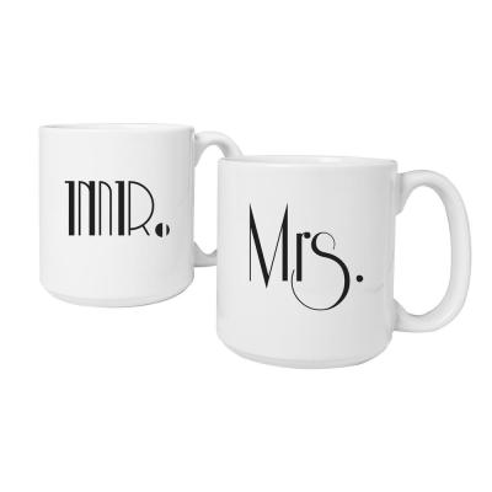 Mr. and Mrs. 20 oz. Ceramic Large Gatsby Coffee Mugs
