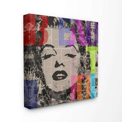"30 in. x 30 in. ""Glam Fashion Munroe Portrait with Beautiful Stenciled in Rainbow"" by Artist VeeBee Canvas Wall Art"