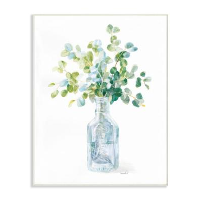 "10 in. x 15 in. ""Flower Jar Still Life Green Blue Painting"" by Danhui Nai Wood Wall Art"