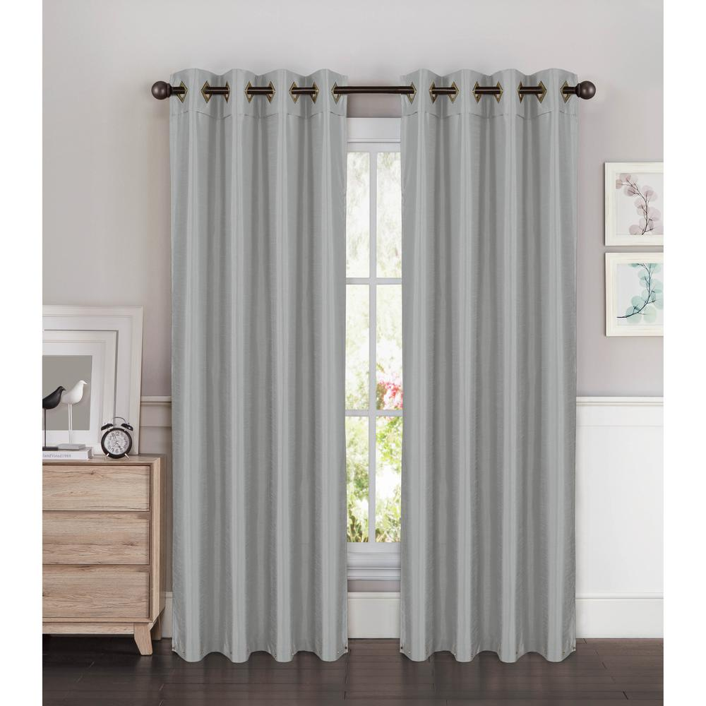 Semi Opaque Kim Faux Silk Extra Wide 96 In L Grommet Curtain Panel Pair Silver Set Of 2