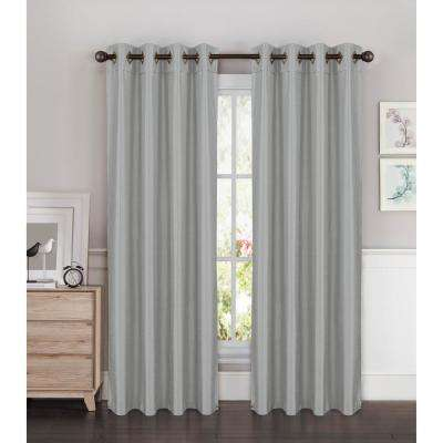 Semi-Opaque Kim Faux Silk Extra Wide 96 in. L Grommet Curtain Panel Pair, Silver (Set of 2)